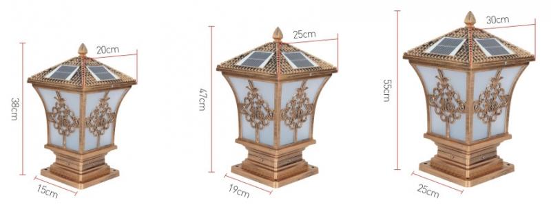 尖花福太阳能柱头灯规格图