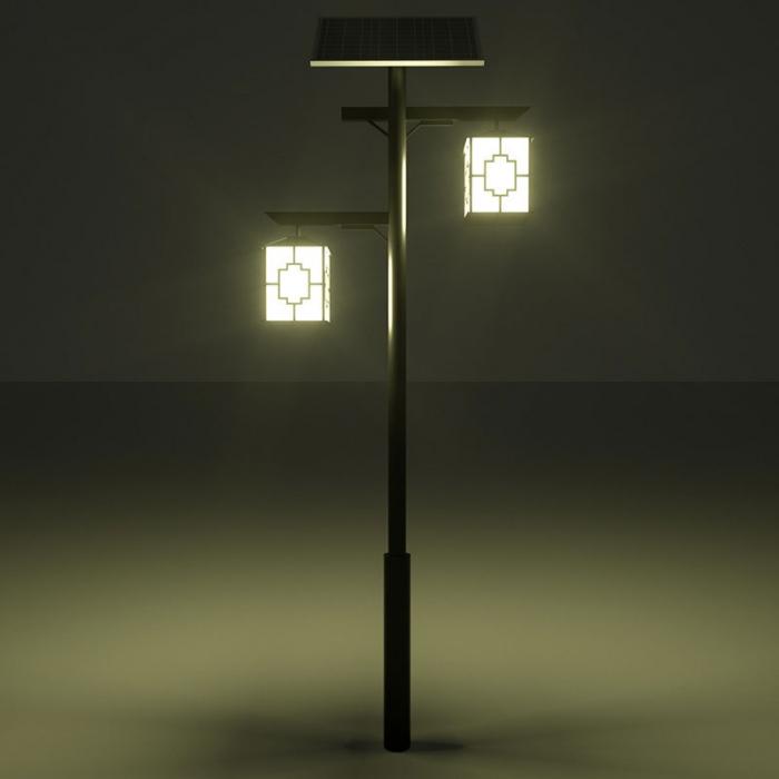 仿古庭院灯灯杆,夜晚场景,庭院灯灯杆厂