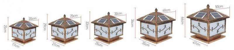 花笼太阳能柱头灯规格图